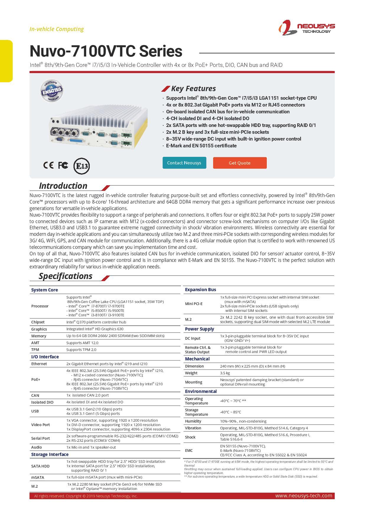 Nuvo-7100VTC | Maya-Tech